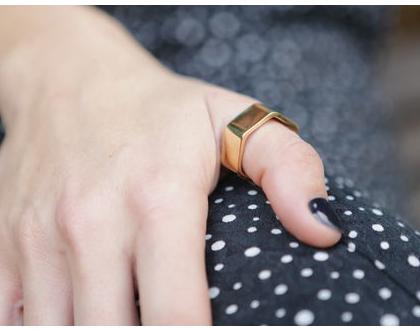 טבעת משושה בציפוי זהב
