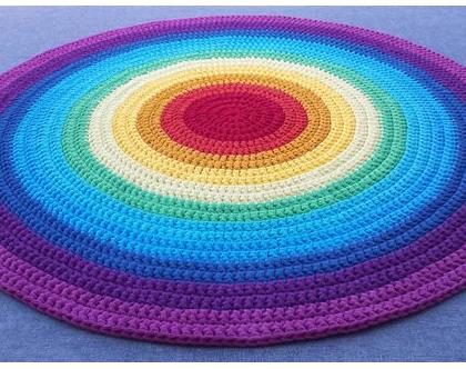 שטיח טריקו | שטיח סרוג | שטיח עבודת יד | שטיח עגול | שטיח צבעוני | שטיח בצבעי הקשת | שטיחים סרוגים