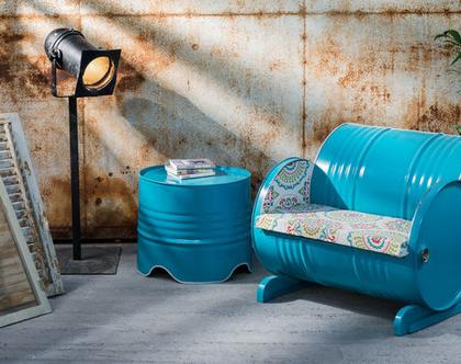 כורסא מעוצבת חבית טורקיז