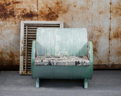 כורסא מעוצבת חבית ממוחזרת