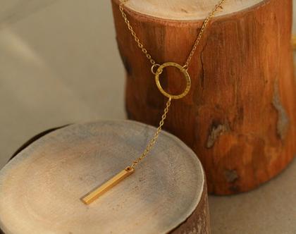 שרשרת זהב קצרה עדינה עם תליונים של עיגול ומקל / N-98