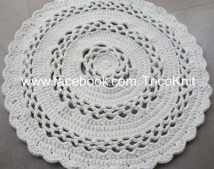 שטיח עגול סרוג שמנת בקוטר 1.10 מטר
