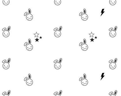 טפט ארנבים וכוכבים שחור לבן