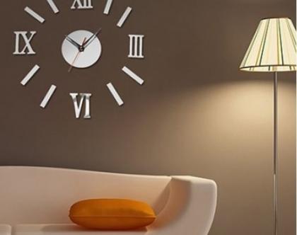 שעון קיר מדבקה באפקט מראה וספרות רומיות