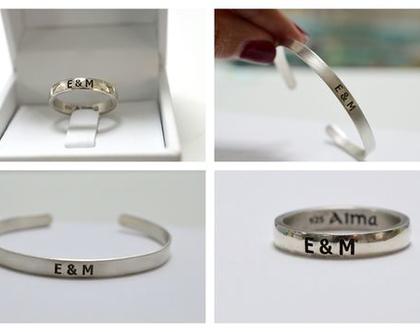 טבעת שם חריטה | מתנה לחבר| מתנה לחברה| תכשיטי כסף 925 לזוג| טבעת וצמיד מכסף 925 | תכשיטי כסף עם חריטה | מתנה לזוג| תכשיטים מכסף לזוג