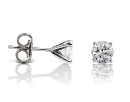 עגילי יהלום בזהב לבן | זוג עגילי יהלומים | עגילי יהלומים צמודים לאוזן | 0.30 קראט