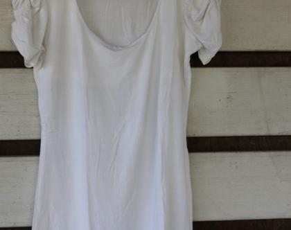 דפנה לוינסון- חולצה לבנה עם כיווץ בשרוולים / חולצת נשים / חולצה מיוחדת