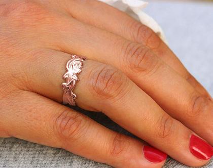 טבעת נישואין מעוטרת פרחים ועלים, טבעת זהב אדום 14K, טבעת נישואין עדינה, טבעת נישואין מיוחדת, טבעת נישואין לאישה, טבעת מעוצבת, טבעת 14K
