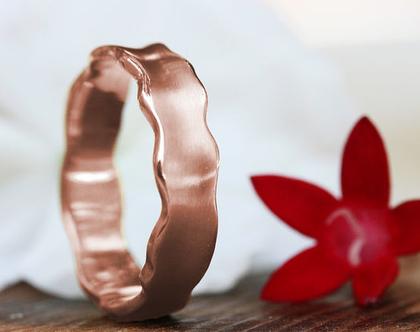 טבעת נישואין זהב אדום 14K, טבעת נישואין עדינה, טבעת גלים, טבעת נישואין קלאסית, טבעת נישואין מיוחדת, טבעת נישואין מעוצבת, טבעת נישואין לאישה
