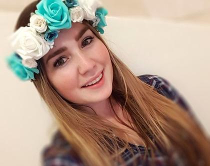 זר לראש | משי | זר פרחים | עיטור ראש | כתר | חגיגה |יומולדת |לבן טורקיז | מלאכותי | ורדים | זר ראש לצילומים | שושבינה | מסיבת רווקות |
