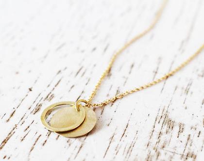 תליון זהב 14k פלטה דקה עם לולאה על שרשרת לולאות