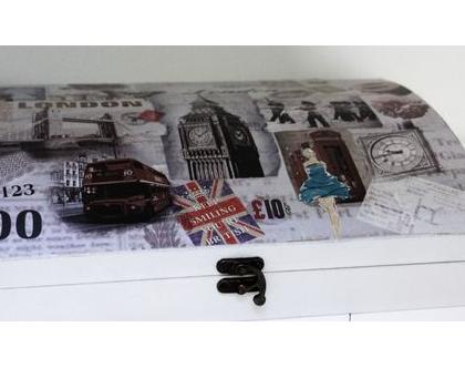 קופסא לאיחסון / קופסה מהודרת / קופסת עץ עם ציורי רטרו
