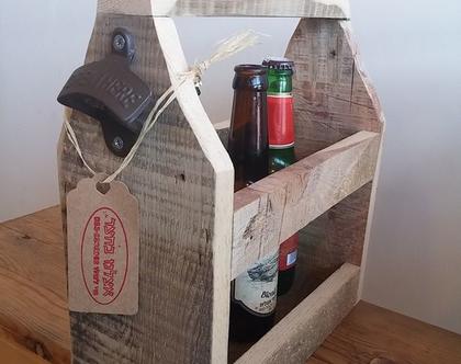 מארז לבירה מעץ ממוחזר