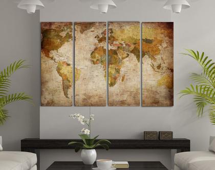 מפת העולם וינטג' | מפת העולם וינטג'- 4 חלקים על קנבס | מפת העולם מעוצבת לבית ולמשרד