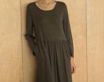 שמלת כיווץ חורף, שמלה שרוול ארוך, שמלה יפה, שמלה אפורה, שמלה שחורה