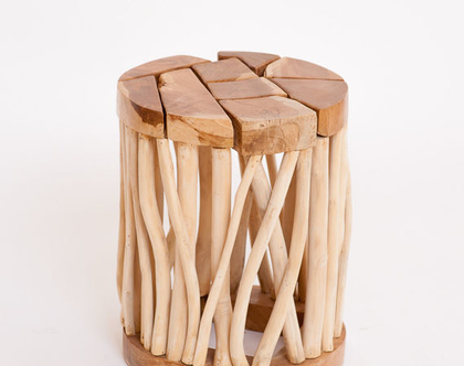 הדום מעץ טיק מלא מעוצב