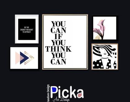 סט 5 תמונות - 5 מחשבות להגשמה