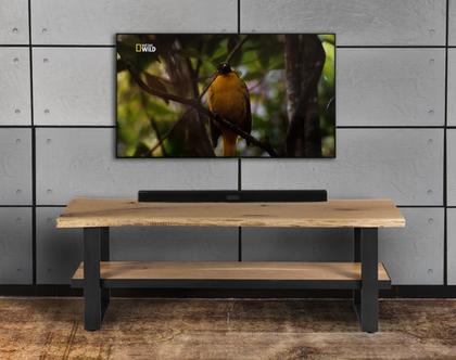 מזנון טלוויזיה מעץ מלא וברזל