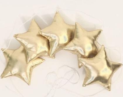 גרילנדה כוכבים| שרשרת כוכבים זהב | כרית כוכב בצבע זהב | כרית כוכב לחדרי ילדים | כריות מעוצבות לילדים