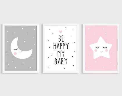 סט 3 פוסטרים Be Happy | תמונות לחדר ילדים | פוסטרים לחדר ילדים | תמונות חדר תינוקות | עיצוב חדר ילדים