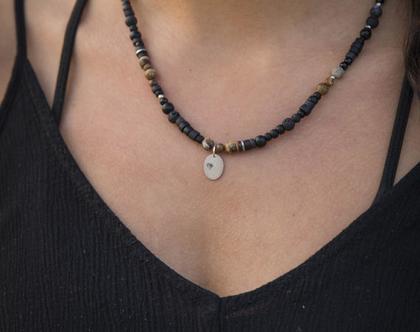 שרשרת קצרה גוונים שחורים תליון לב אליפסה