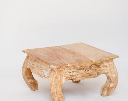 שולחן נמוך מעוצב בסגנון מזרח הרחוק,דגם אופיום בווש לבן