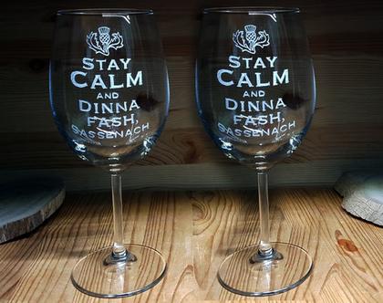 זוג כוסות יין, חריטה אומנותית בעבודת יד, זרה, אאוט לנדר, Keep Calm, סדרה, מספר, שירן לביא שוחט