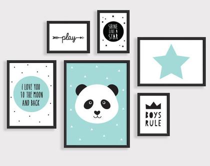 סט 6 פוסטרים ממוסגרים פנדה | תמונות לחדר ילדים | פוסטרים לחדר ילדים | תמונות חדר תינוקות | עיצוב חדר ילדים
