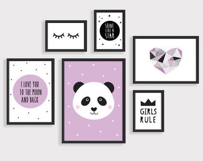 סט 6 פוסטרים ממוסגרים פנדה סגול | תמונות לחדר ילדים | פוסטרים לחדר ילדים | תמונות חדר תינוקות | עיצוב חדר ילדים