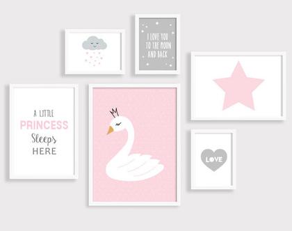 סט 6 פוסטרים ממוסגרים ברבור | תמונות לחדרי ילדים | פוסטרים לחדר ילדים | תמונות לחדרי תינוקות | תמונות לחדר הילדים | הדפסים לחדר ילדים