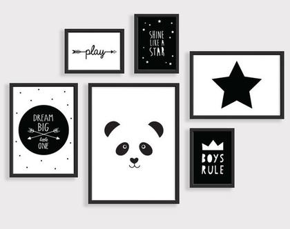 סט 6 פוסטרים ממוסגרים פנדה שחור לבן | תמונות לחדר ילדים | פוסטרים לחדר ילדים | תמונות חדר תינוקות| תמונות שחור לבן | עיצוב חדר ילדים