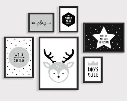 תמונות לחדר ילדים אייל שחור לבן | פוסטרים ממוסגרים לחדר ילדים