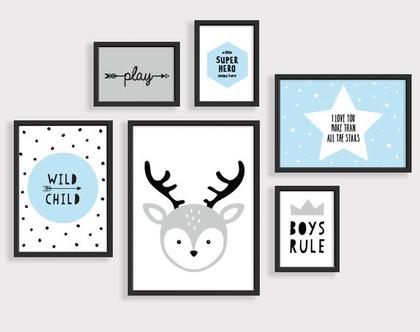 סט 6 פוסטרים ממוסגרים אייל תכלת | תמונות לחדר ילדים | פוסטרים לחדר ילדים | תמונות חדר תינוקות | עיצוב נורדי