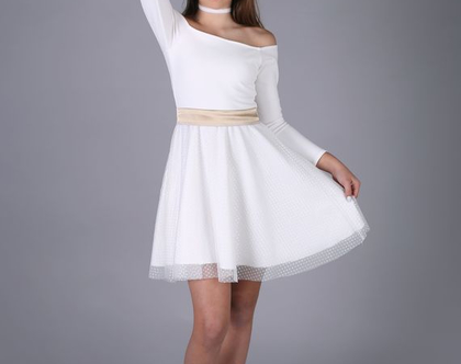 שמלת כתפיים לבת מצווה של המעצבת שירן סבוראי