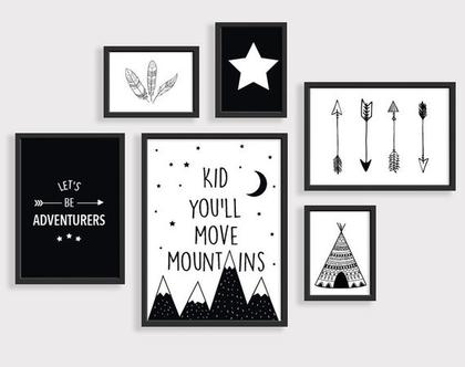 סט 6 פוסטרים הרים | תמונות לחדר ילדים | פוסטרים לאחים | תמונות שחור לבן | עיצוב נורדי