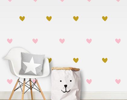 מדבקות קיר לבבות | מדבקות לחדר ילדים | מדבקות לחדר תינוקות | מדבקות קיר זהב | עיצוב חדר ילדים | לבביות זהב