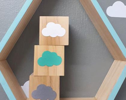 סט קוביות עץ עננים