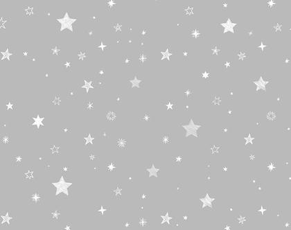 טפט כוכבים אפור לבן