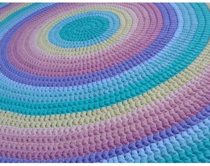 שטיח טריקו | שטיח סרוג | שטיח עבודת יד | שטיח עגול | שטיח לחדר ילדים | שטיח לחדר משחקים | שטיחים סרוגים