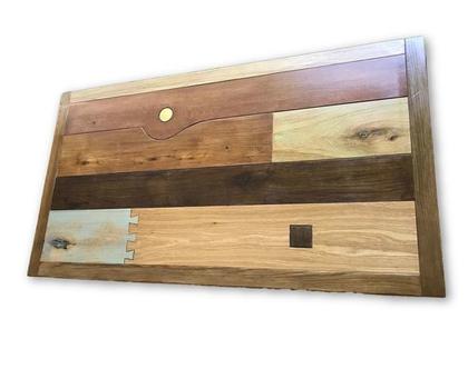 שולחן מעץ אלון מלא עם רגלי ברזל