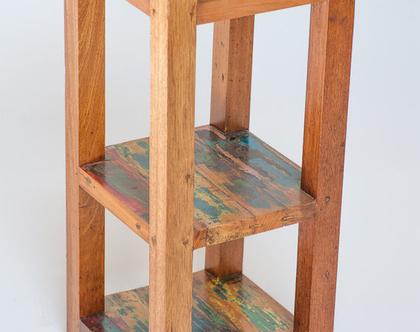סטנד צר,שידה פתוחה מעץ ממוחזר צבעוני