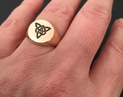 טבעת חותם חריטה יוניסקס | טבעת שם | טבעת קלטית