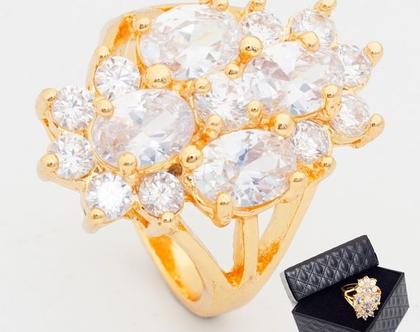 טבעת ערב ציפוי זהב בשילוב קריסטלים | טבעות גדולות | טבעת | טבעת לאישה | טבעת גדולה | טבעת ערב | טבעת לכלה | אבני סברובסקי | טבעת לאירוע