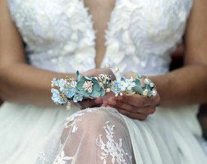 אקססוריז לשיער בעבודת יד קשת פרחים קסומה זר פרחים