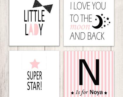 תמונות לחדרי ילדים|תמונה לחדר ילדים|עיצובים לחדרי ילדים|תעודת לידה לתינוק|דגם ורוד שחור עם שם