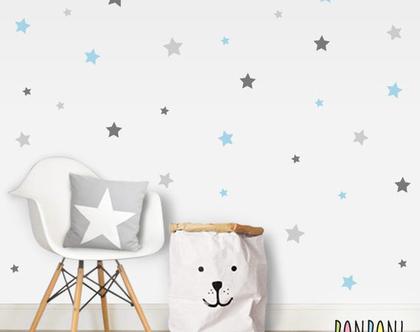 מדבקות כוכבים 3 צבעים | מדבקות לחדר ילדים | מדבקות לחדר תינוקות | מדבקות קיר זהב | עיצוב חדר ילדים | מדבקות כוכבים