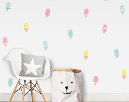 מדבקות קיר ארטיקים | מדבקות לחדר ילדים | מדבקות לחדר תינוקות | מדבקות קיר זהב | עיצוב חדר ילדים | מדבקות גלידות