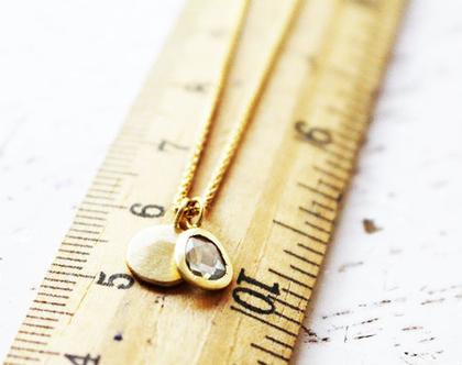 תליון סלייס יהלום כוכב עם פלטת זהב 18k על שרשרת צמה