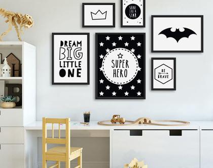 סט פוסטרים ממוסגרים גיבור על שחור לבן | תמונות לחדרי ילדים | פוסטרים לחדר ילדים | תמונות לחדר תינוקות | עיצוב חדר ילדים | סט תמונות לילדים