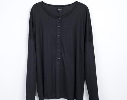 טישרט כפתורים שחורה ארוכה, טישרט עם שרוול ארוך, חולצה שחורה, טישרט יפה לסתיו